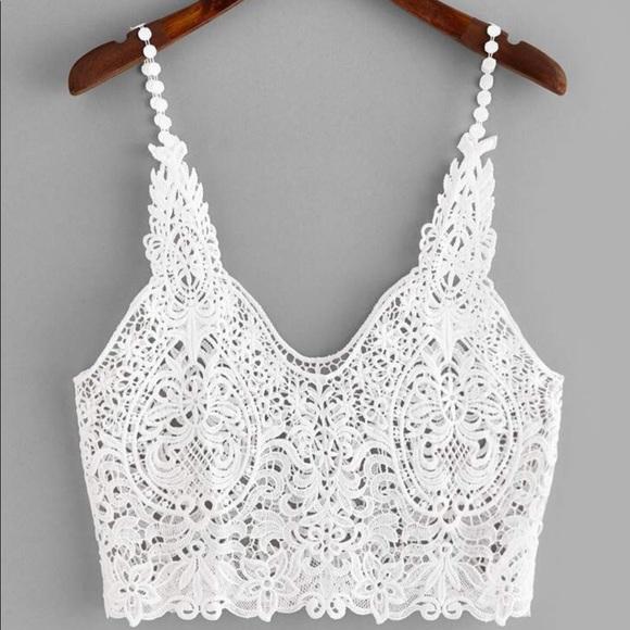 ⭐️Host Pick ⭐️Crochet Sheer Lace Crop Top